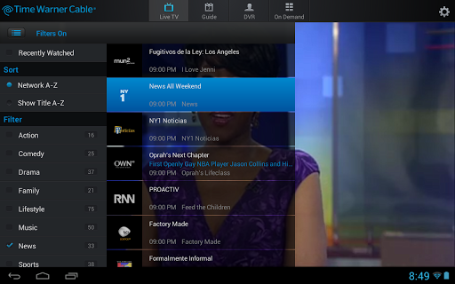 TWC TV app screen