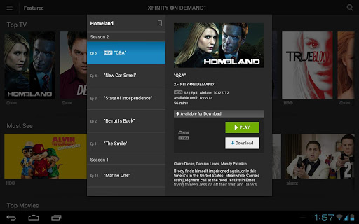 Xfinity TV Player App screen1