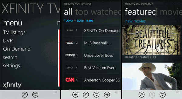 comcast xfinity tv app windows phone screens
