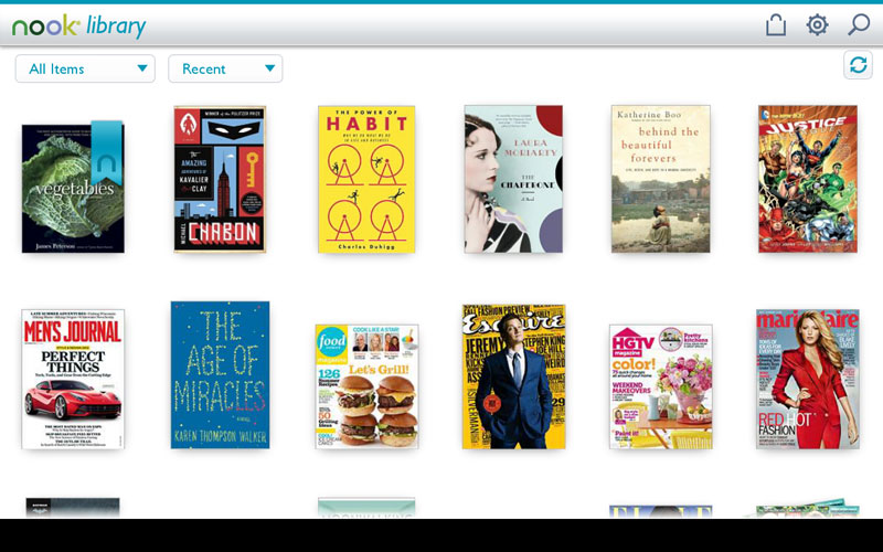 NOOK library all screen