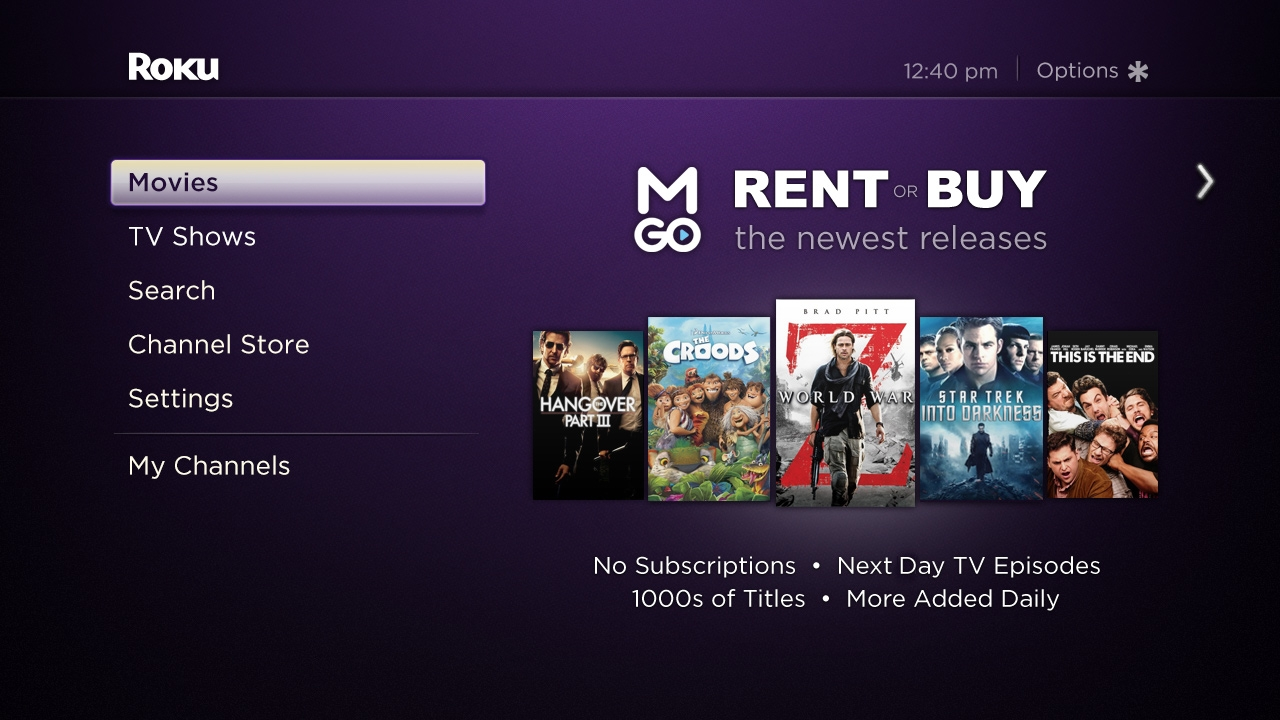 Roku partners with M-Go video service