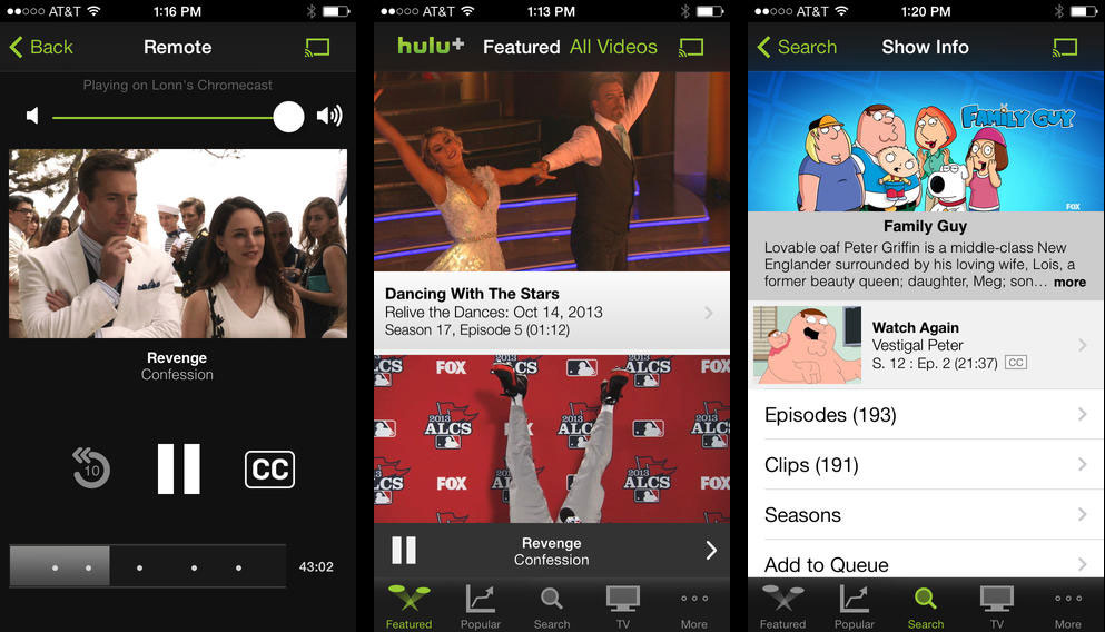 Hulu Plus app for iPhone now supports Google Chromecast ...