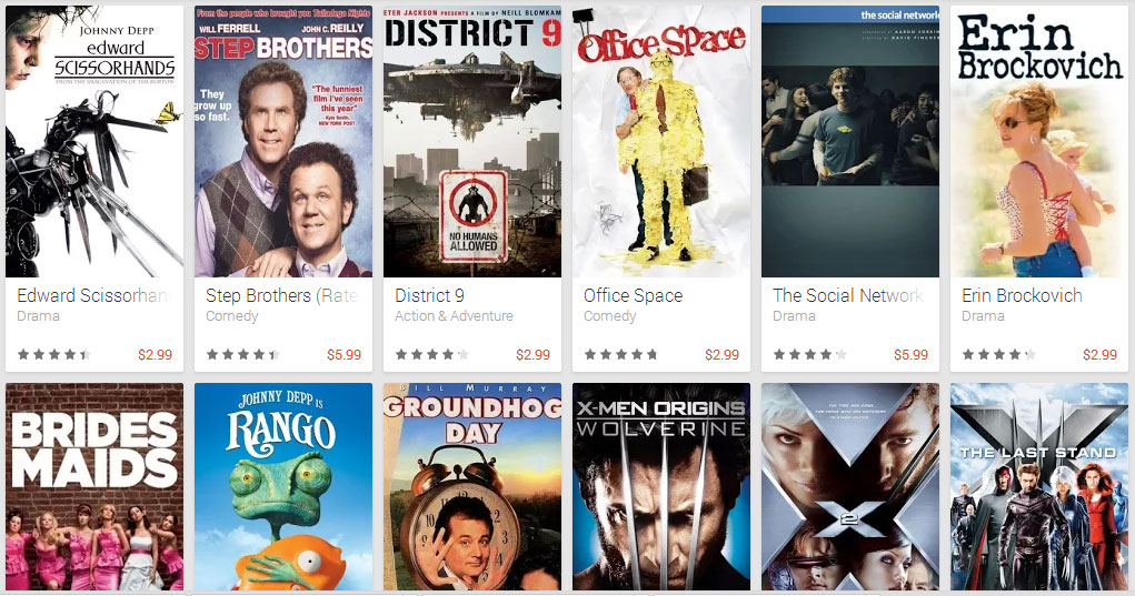 Google Play Store offers digital HD titles for $5.99