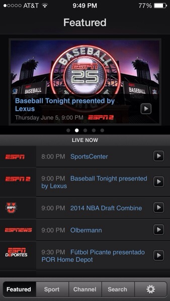 WatchESPN app programming screen