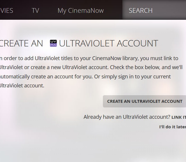 cinemanow link uv account