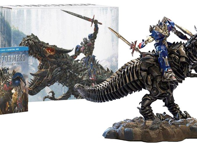 Transformers-Age-Of-Extinction-Amazon-Exclusive-Blu-ray-Optimus-Prime-Grimlock-Statue