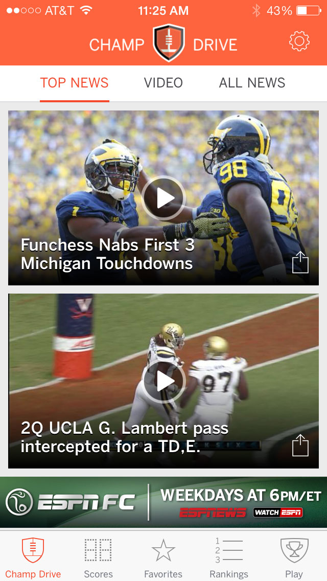 New ESPN Championship Drive App Great for College Football Updates