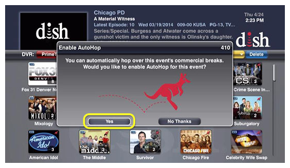dish autohop screenshot