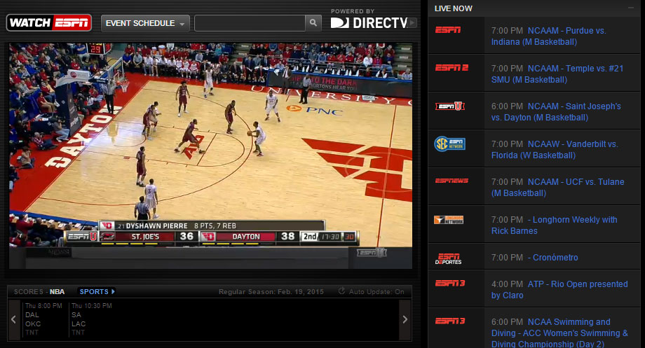WatchESPN & WatchABC now authenticating on DirecTV – HD Report