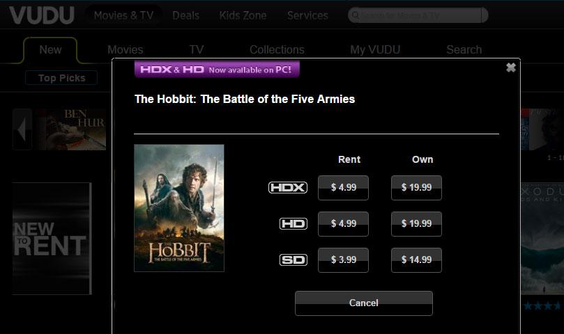 VUDU drops price of HDX rentals
