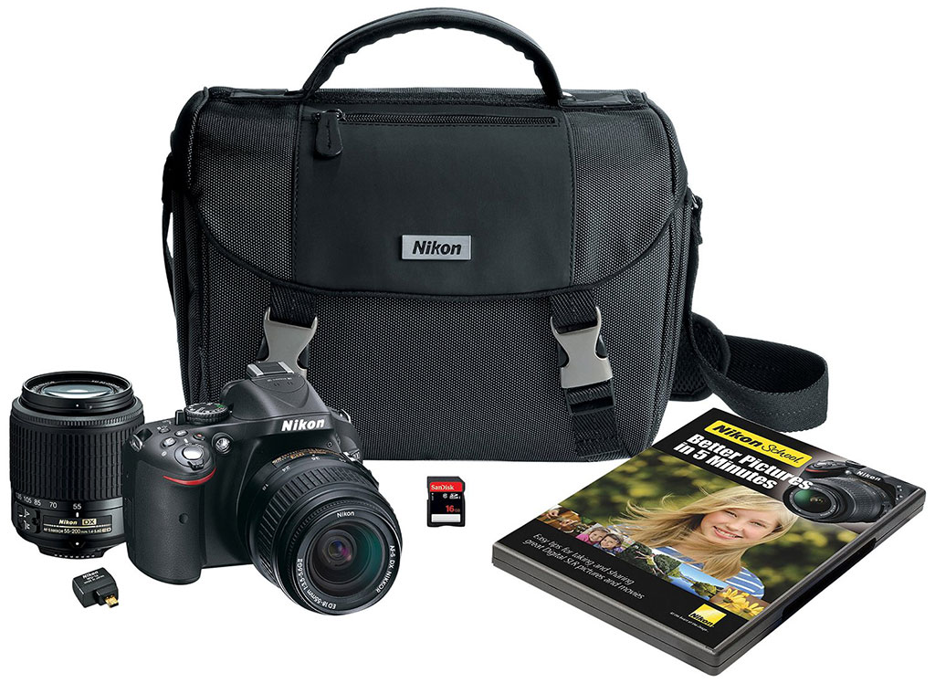 Save almost 50% on Nikon D5200 Digital SLR Camera kit w/2 lenses