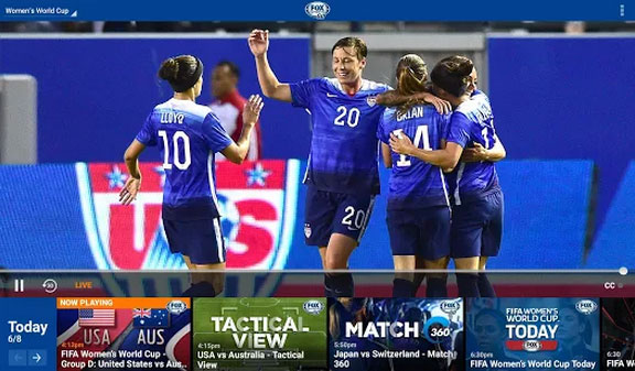Fox Sports Go app screen US Womens Soccer