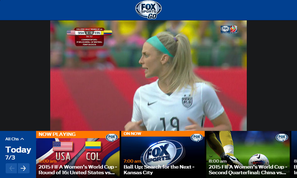 Fox Sports Go 2015 FIFA World Cup USA Womens
