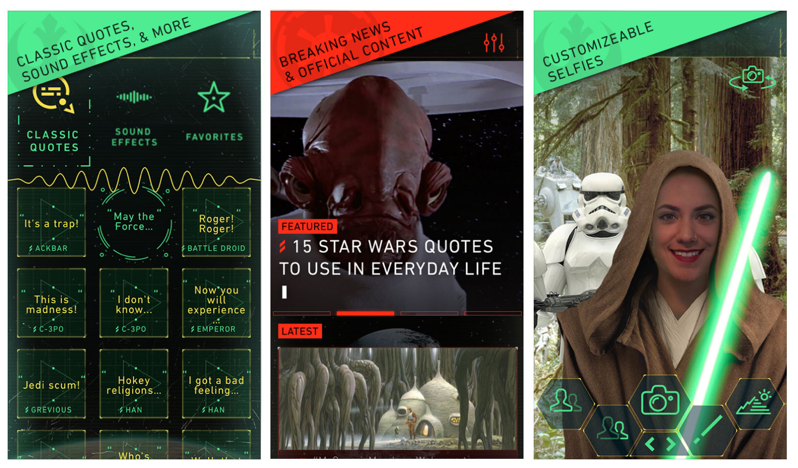 Star Wars iOS app screens