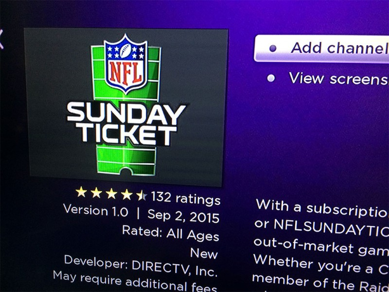 DirecTV's NFL Sunday Ticket now streaming on Roku players