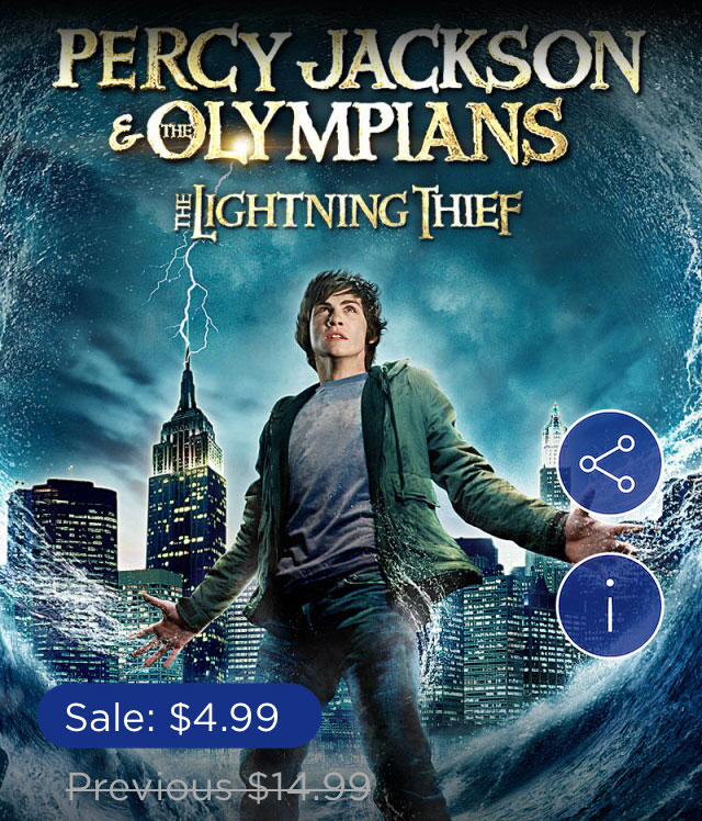 Percy Jackson & The Olympians: The Lightning Thief is only $4.99 in Digital HD