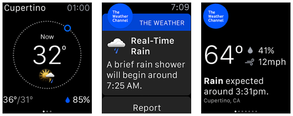 Weather Channel app Apple Watch screens
