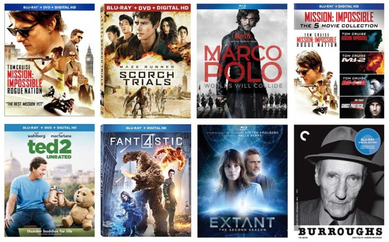 New on Blu-ray: MI5 – Rogue Nation, Maze Runner – Scorch Trials, Ted 2, & more