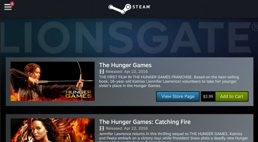 Valve's Steam Now Serving Movies from Lionsgate