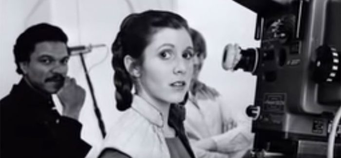 carrie fisher on set star wars