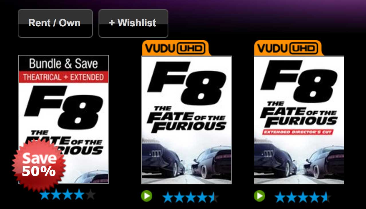 Vudu S Fate Of The Furious 4k Uhd Bundle Is Questionably