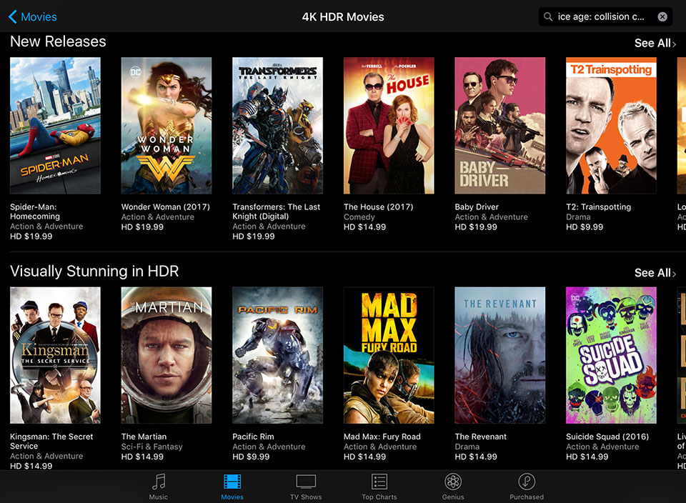 Apple iTunes 4k Launches With Over 130 Movies in HDR – HD Report