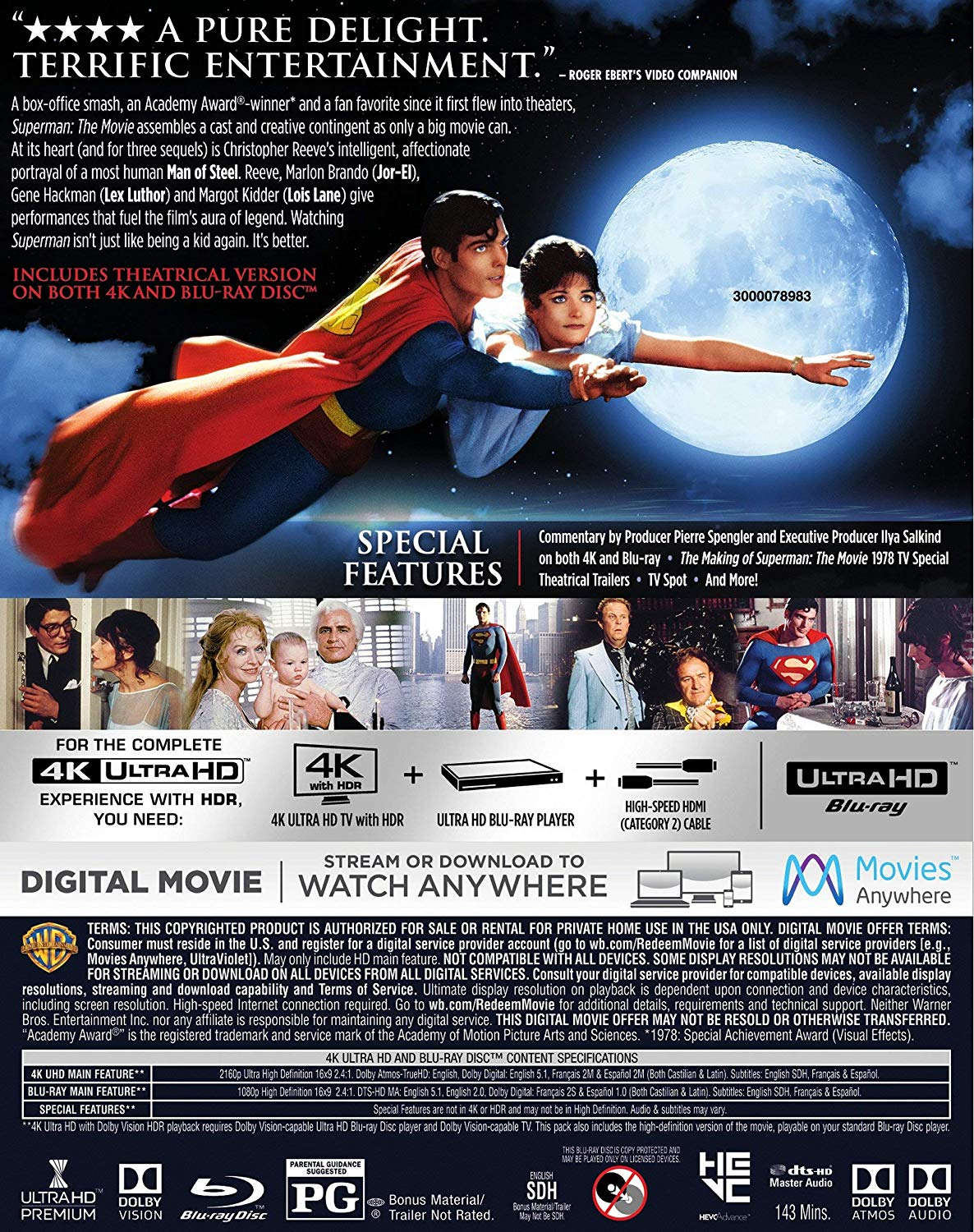 Superman- The Movie 4k Blu-ray back