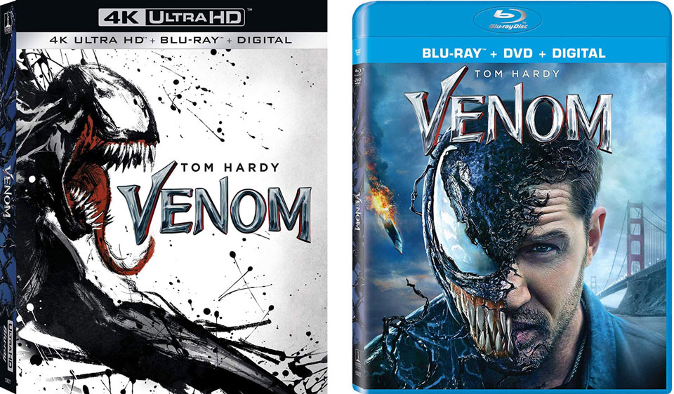 Venom 4k Blu-ray and Blu-ray editions