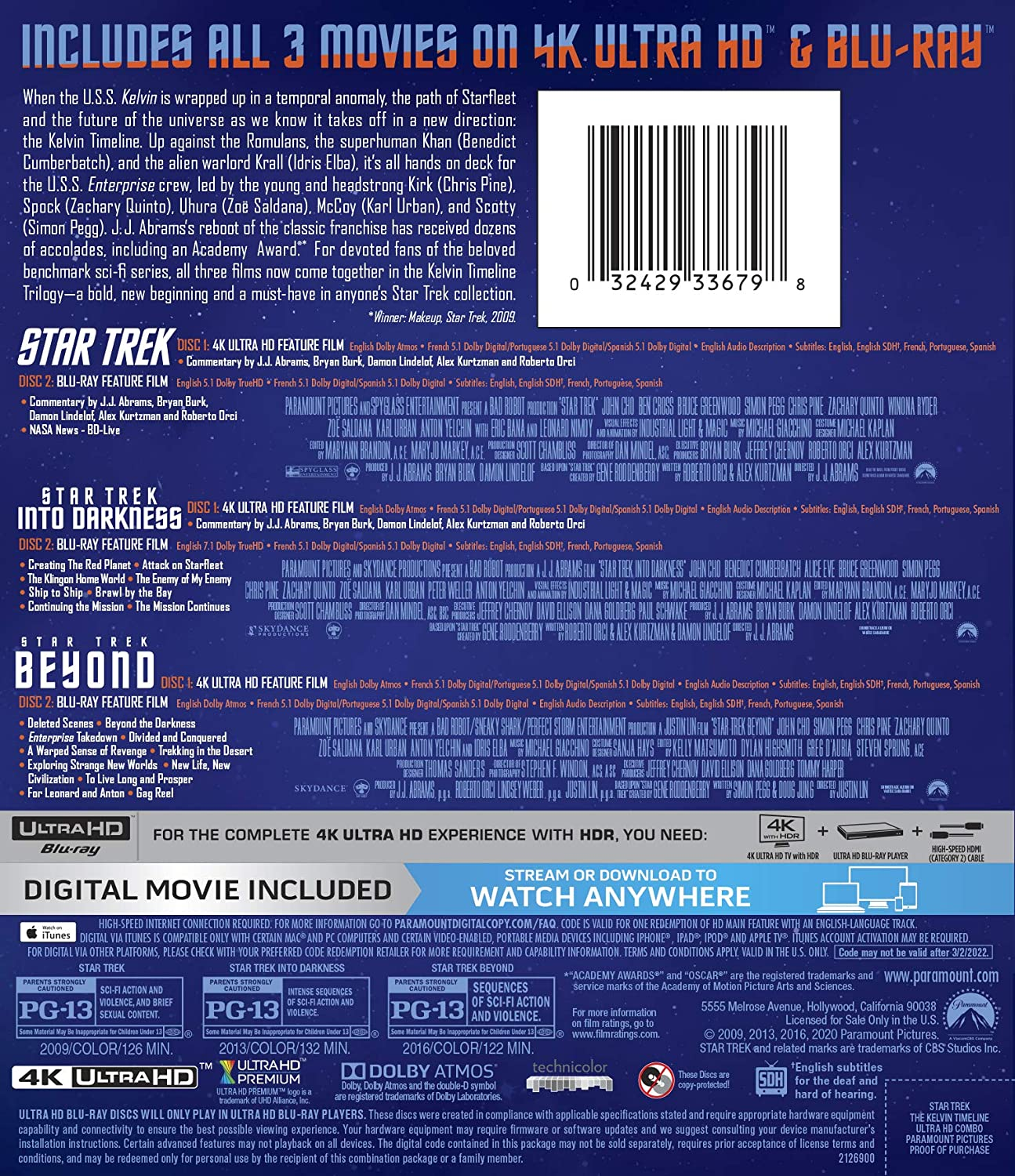 Star Trek Trilogy- The Kelvin Timeline Blu-ray 6-disc back
