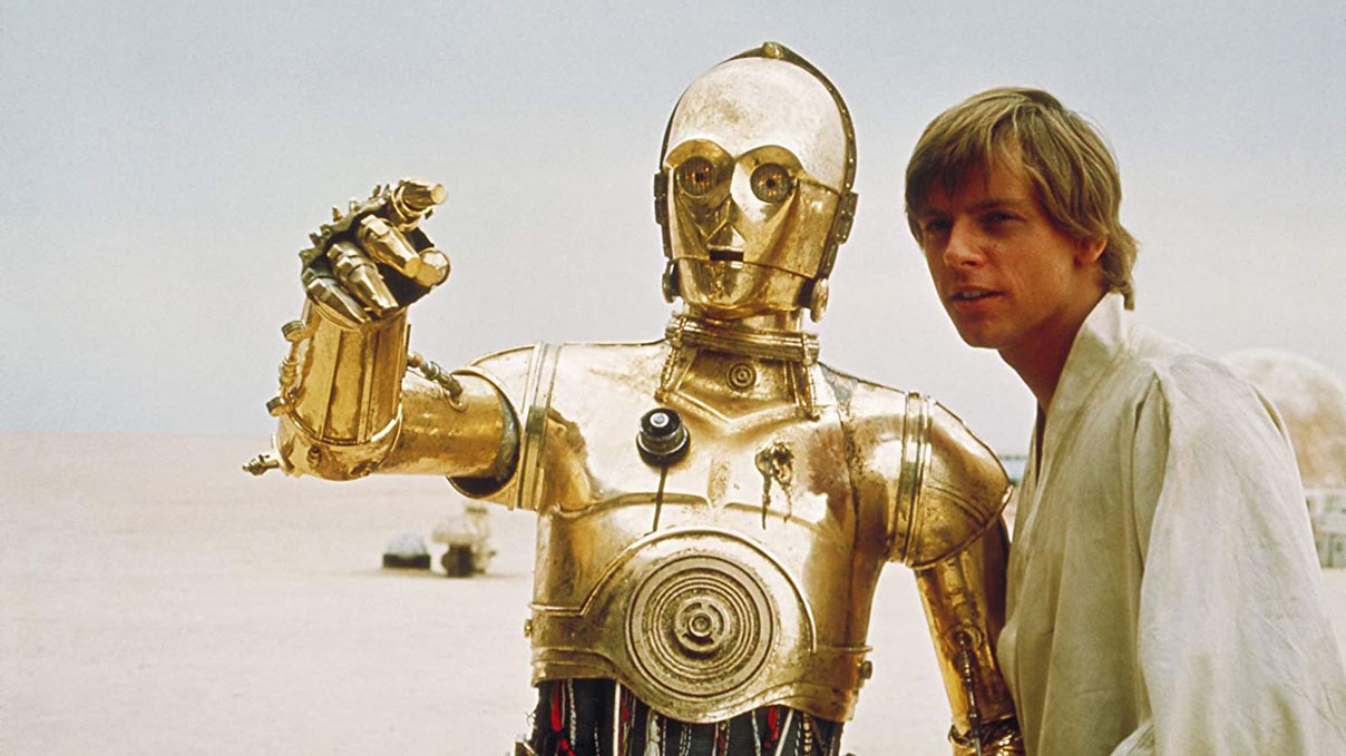"""Star Wars: A New Hope"" (1977) starring Anthony Daniels and Mark Hamill"