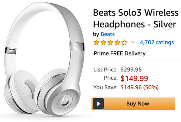 Beats Solo3 Headphones Silver