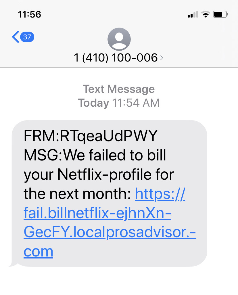 netfix scam text message