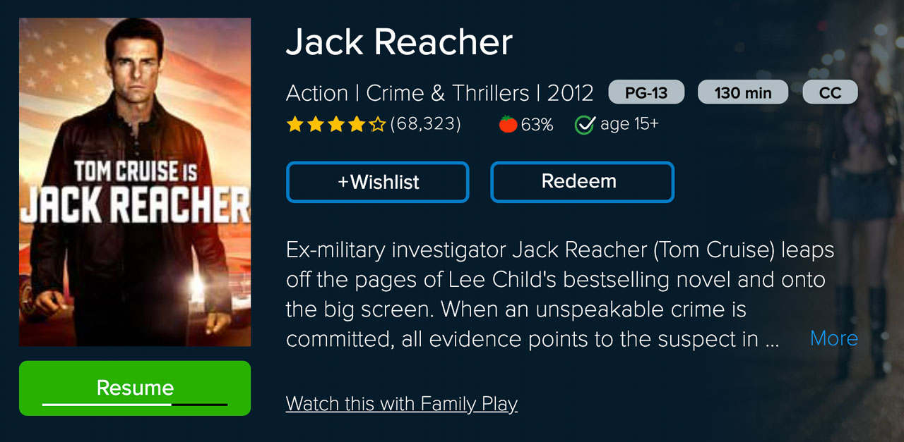 jack reacher family play vudu