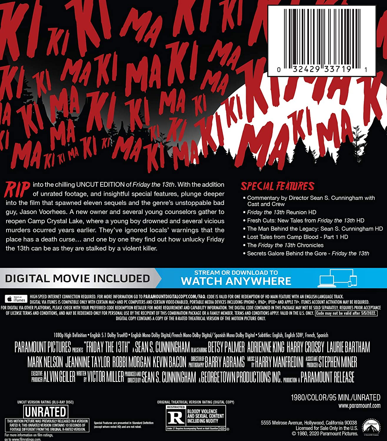 Friday the 13th Blu-ray SteelBook back