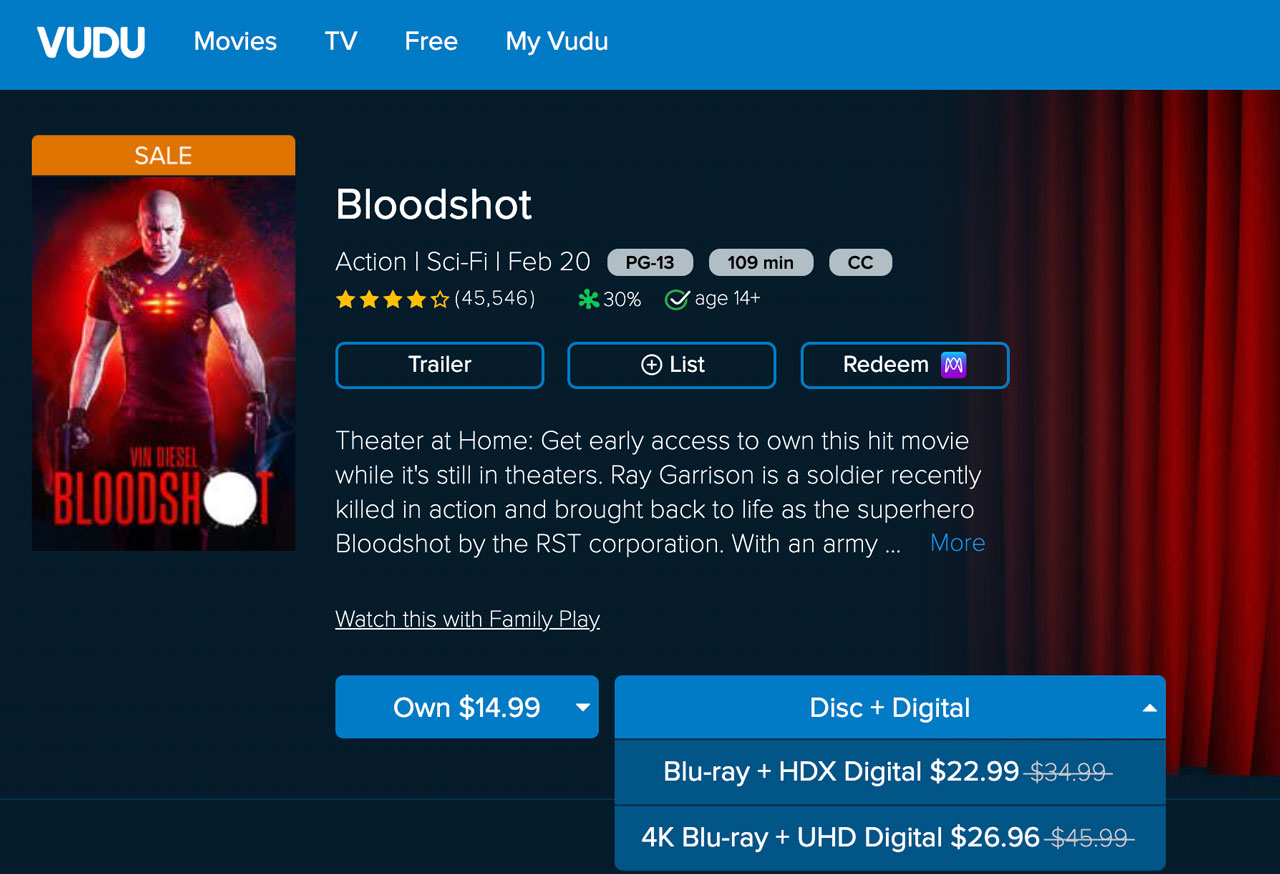 vudu bloodshot disc digital