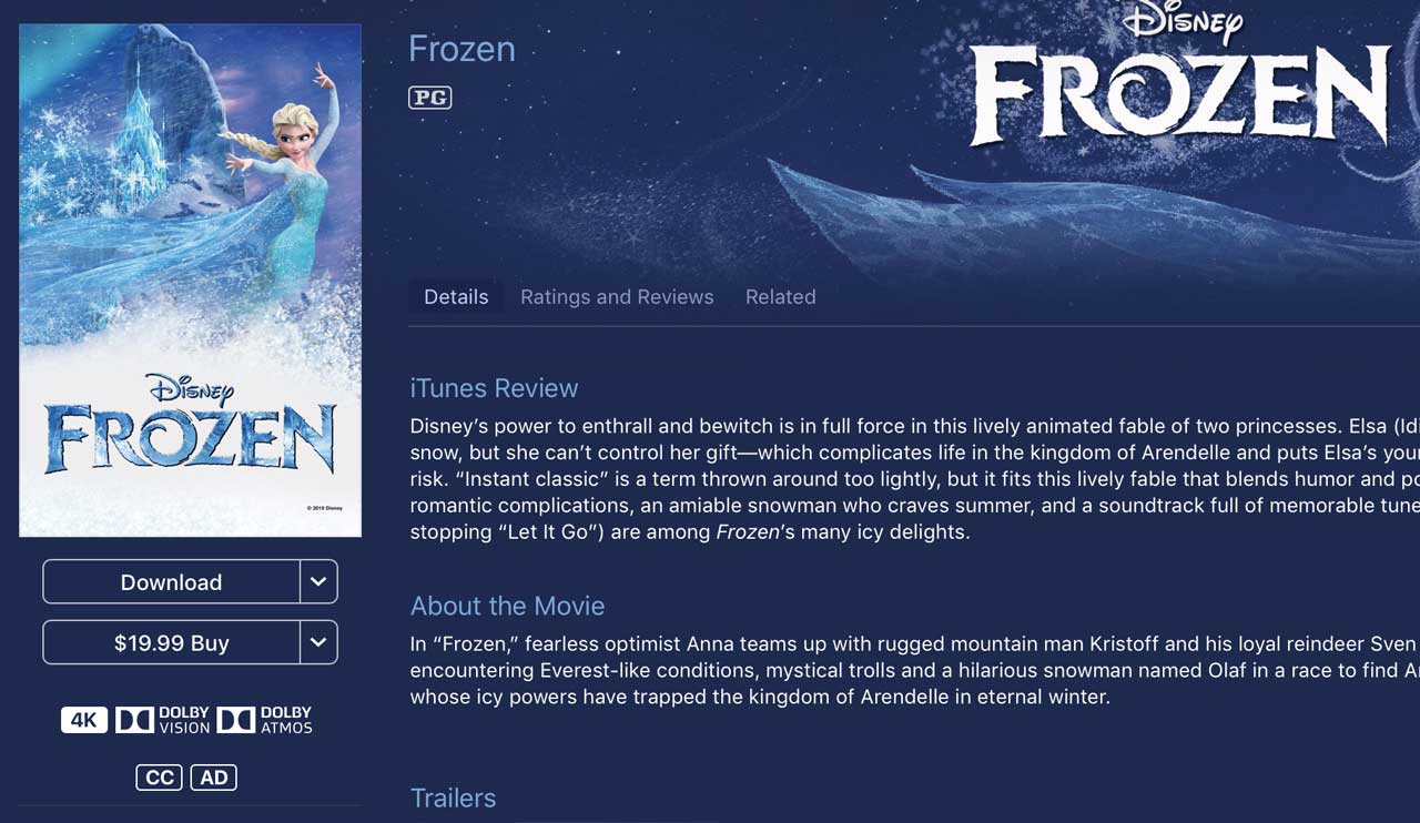 Frozen iTunes 4k