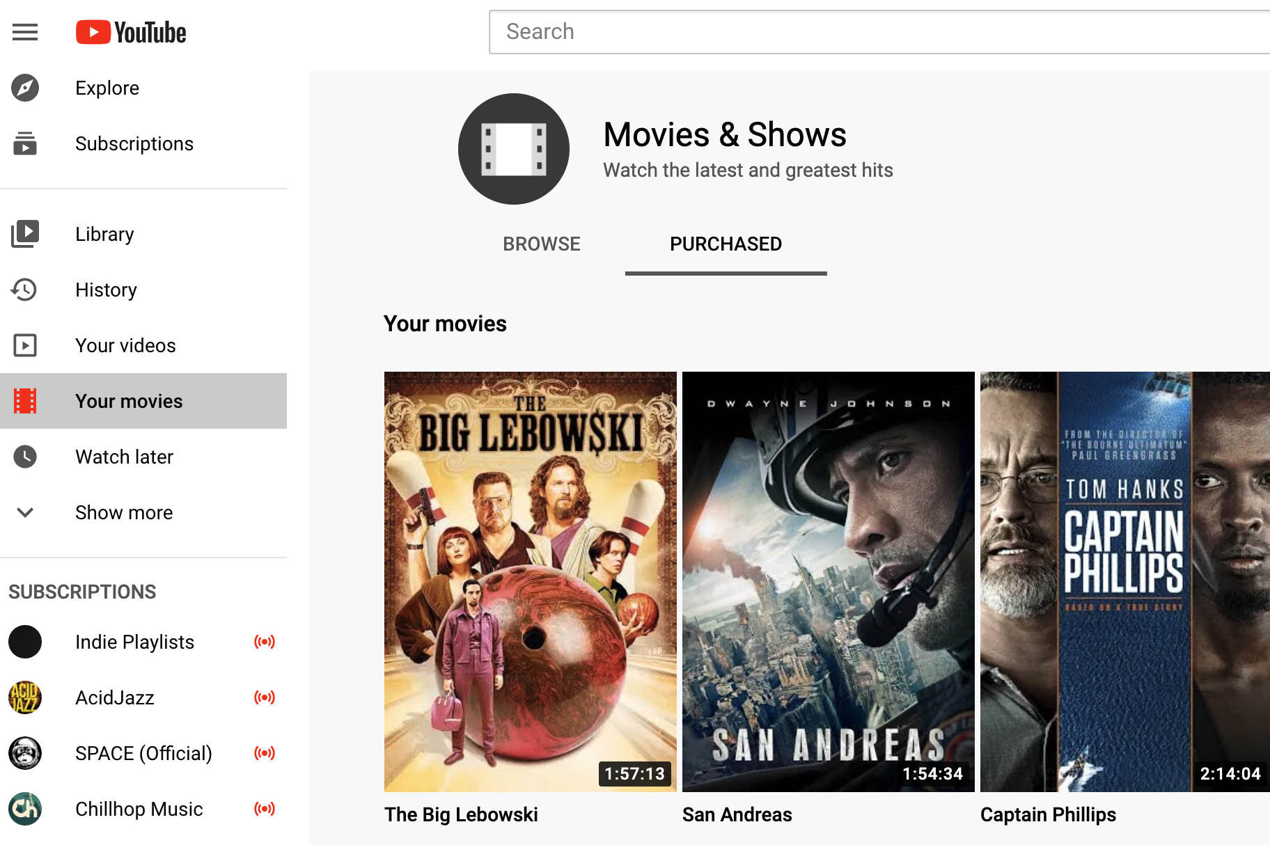 YouTube Movies Anywhere integration