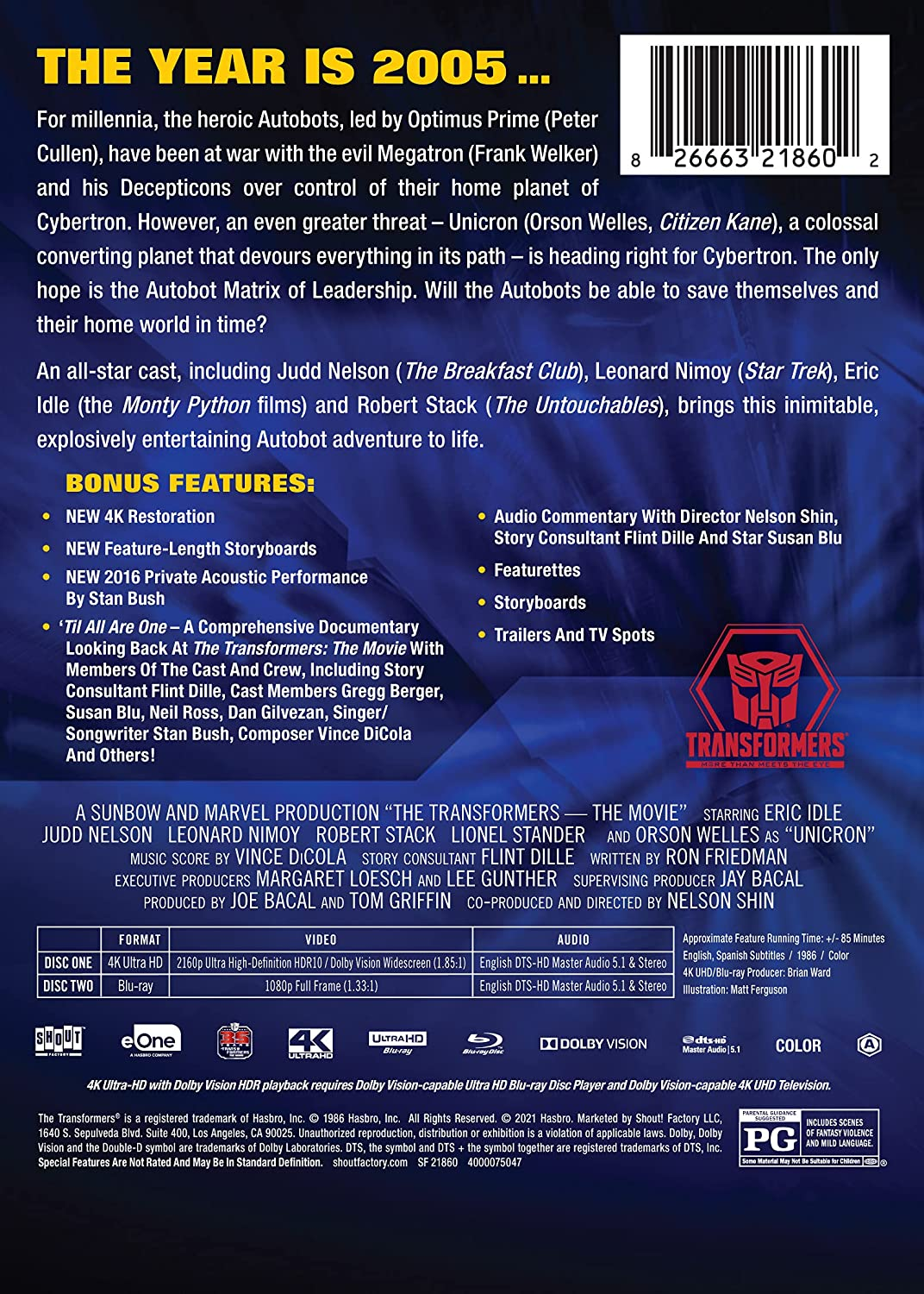 The Transformers- The Movie 35th Anniversary Limited Edition 4k Steelbook back