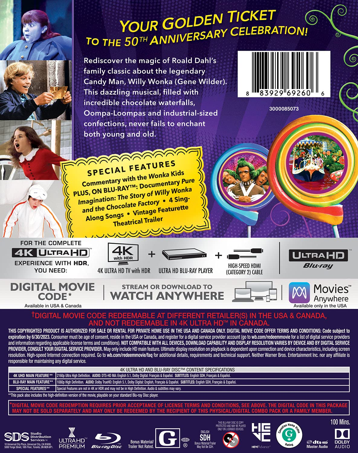 Willy Wonka & the Chocolate Factory 4k Blu-ray back