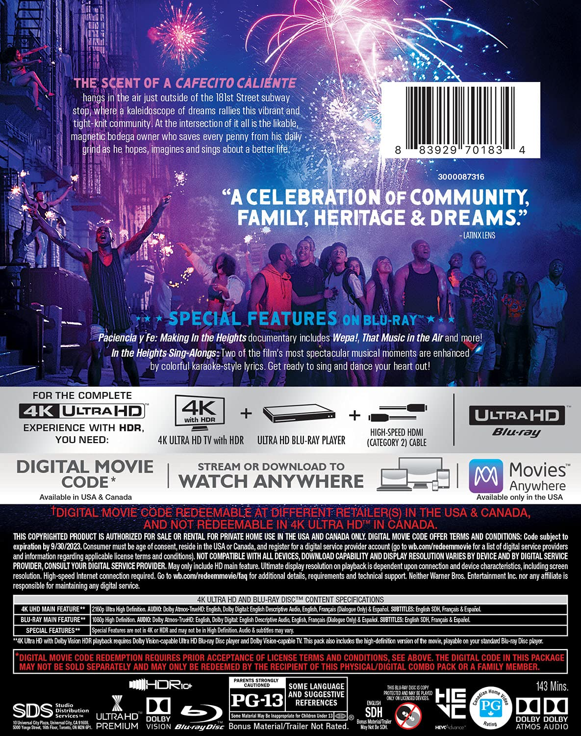 In the Heights 4k Blu-ray back
