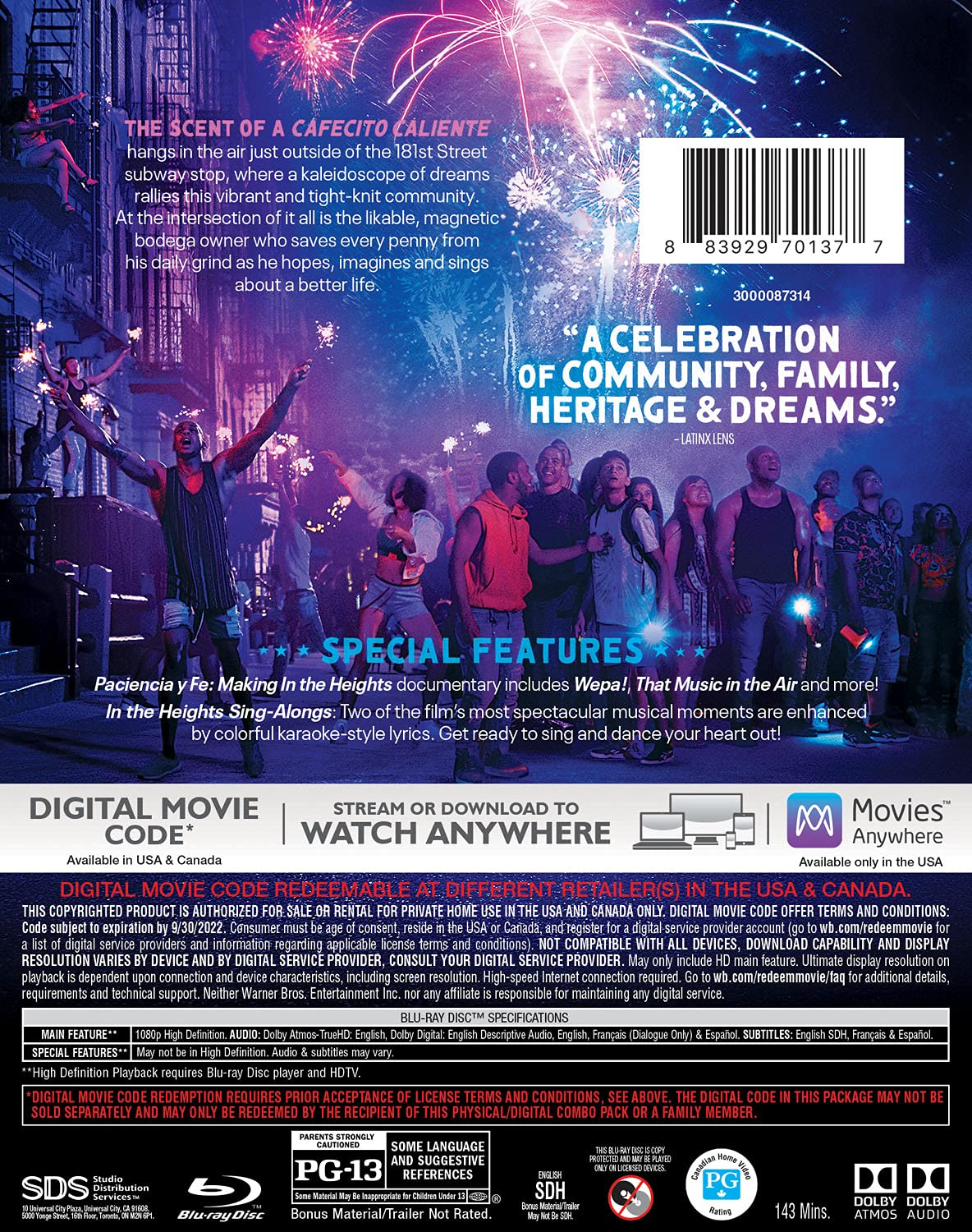 In the Heights Blu-ray back