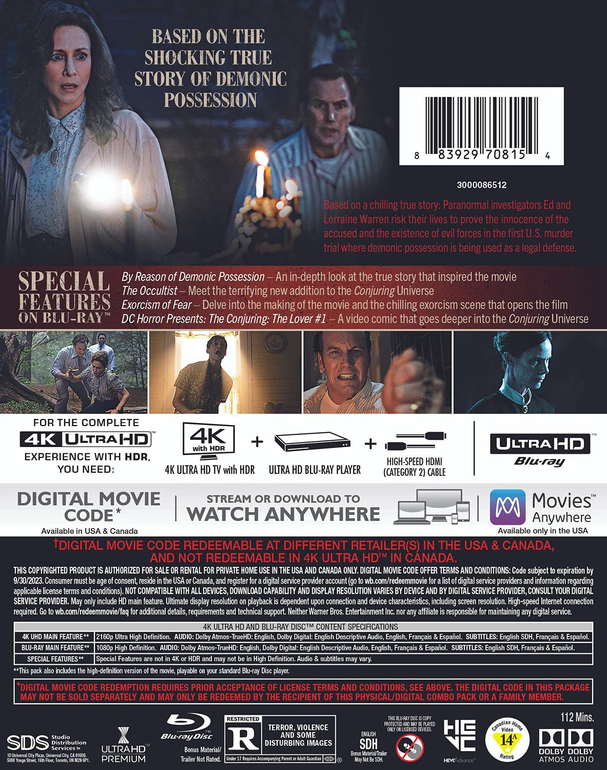 The Conjuring- The Devil Made Me Do It 4k Blu-ray back