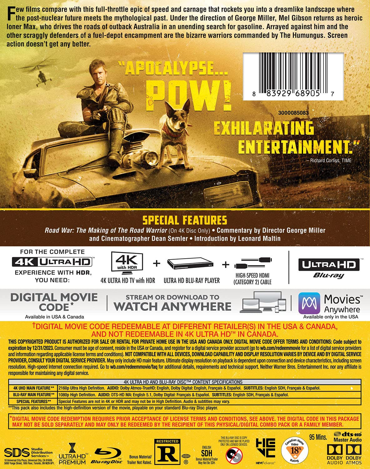 Mad Max 2- The Road Warrior 4k Blu-ray back