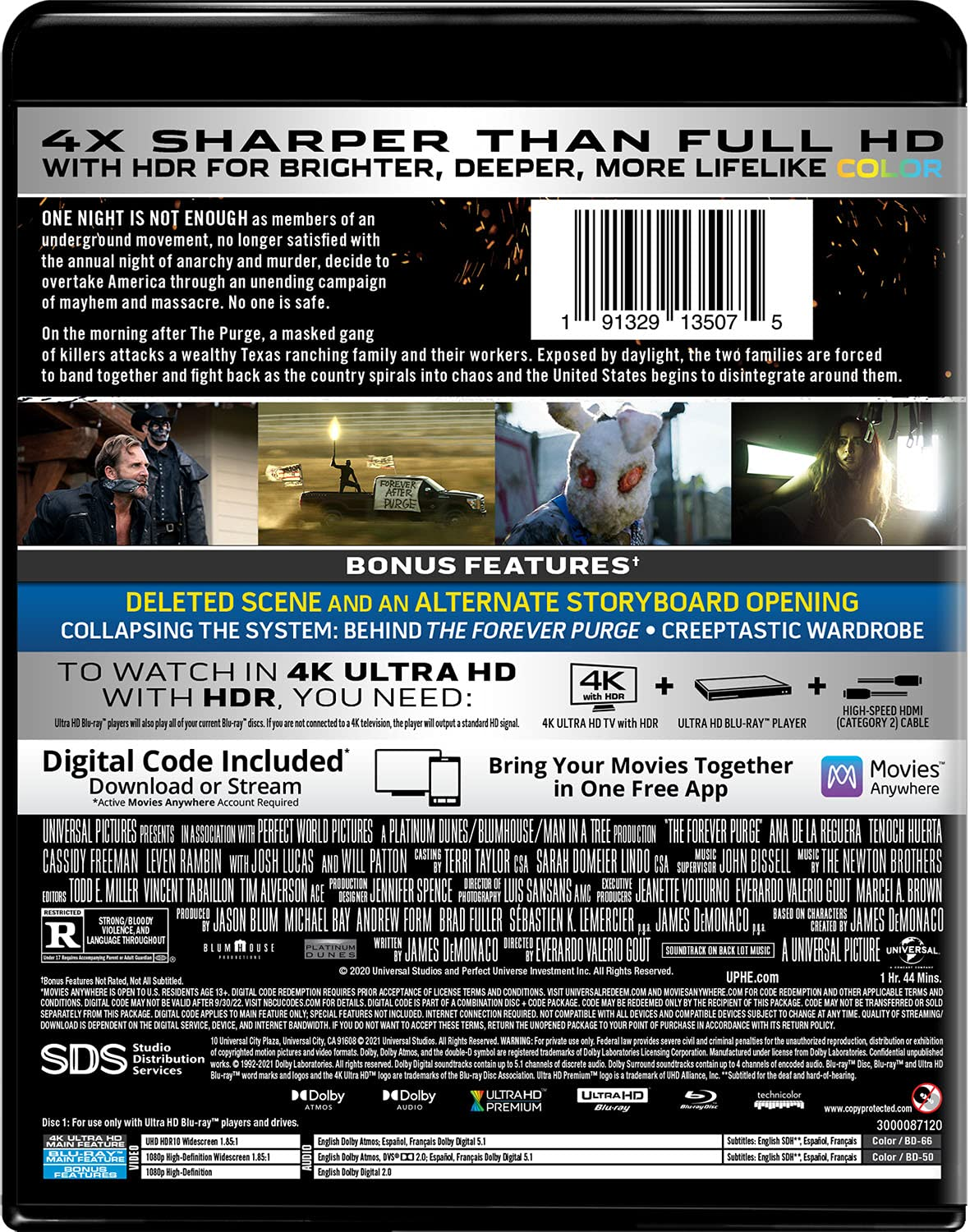 The Forever Purge 4k Blu-ray back
